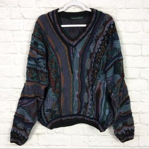 Tundra Jewel Tone 3D Knit Cotton VNeck Sweater XL
